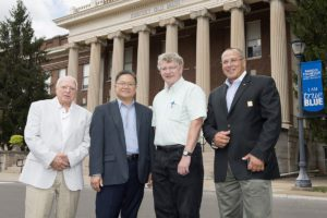 From left, Tecport Optics and MTSU representatives Frank Helmes, Tecport sales, Tecport President Tam Lee, physics and astronomy professor and inventor Bill Robertson and Tecport Vice Chairman Nabil El-Hag visit in front of Kirksey Old Main at MTSU. A licensing agreement between MTSU and Tecport will commercialize an innovative diagnostic tool invented by Robertson for medical research and health professionals. (MTSU photo by J. Intintoli) Nabil El-Hag, Vice Chair, Tecport Optics Inc, William Robertson, MTSU Physics Faculty, Tam Le, President, Tecport Optics Inc., and Frank Helmes, VP Tecportvision